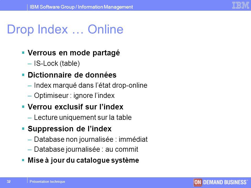 Drop Index … Online Verrous en mode partagé Dictionnaire de données