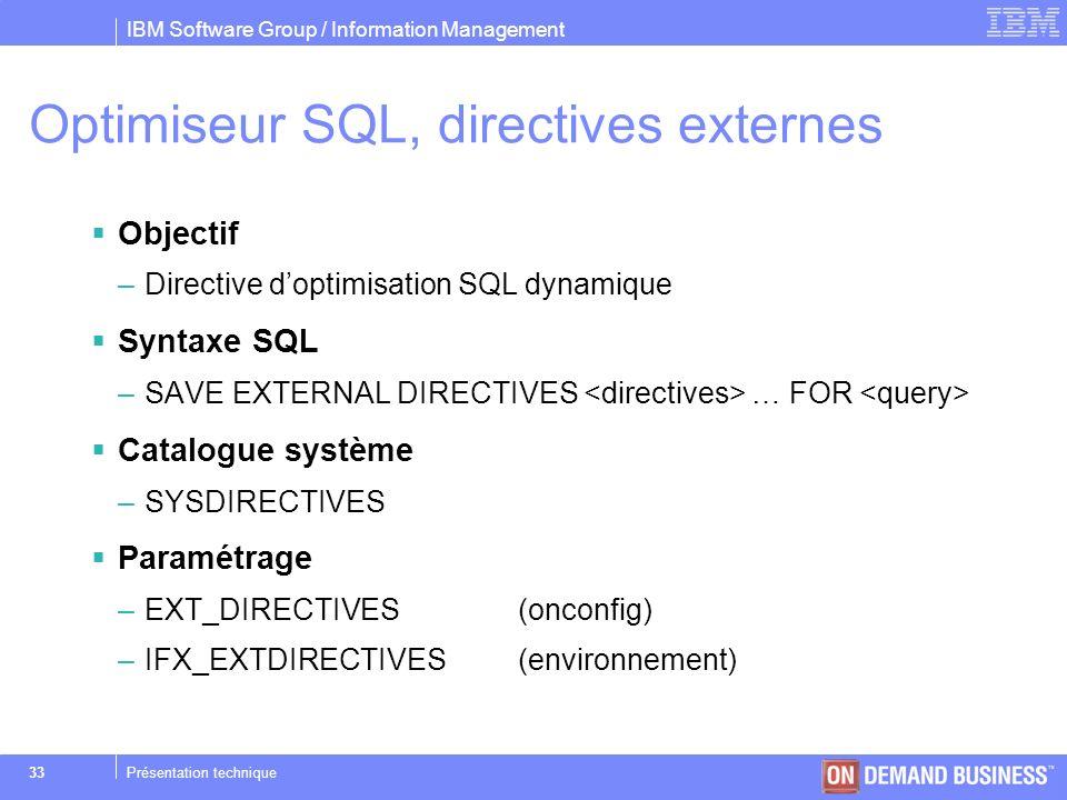 Optimiseur SQL, directives externes