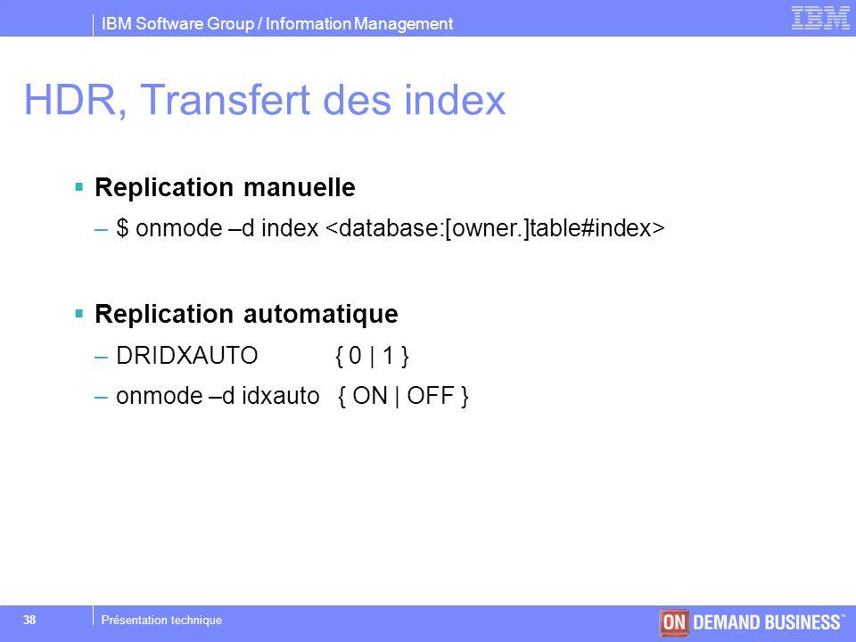 HDR, Transfert des index