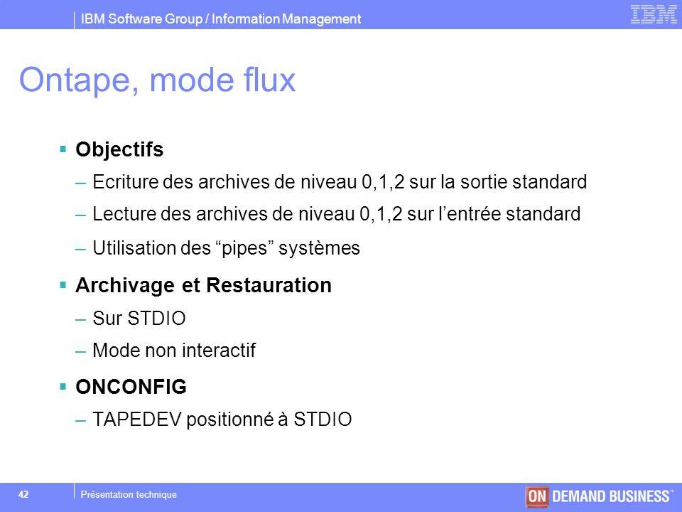 Ontape, mode flux Objectifs Archivage et Restauration ONCONFIG