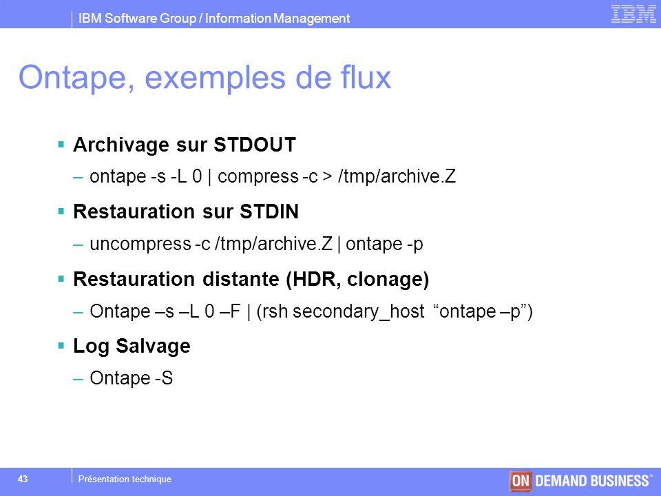 Ontape, exemples de flux