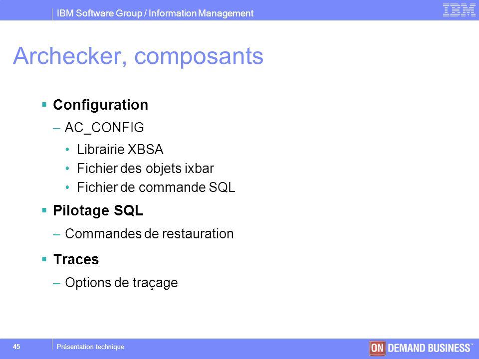 Archecker, composants Configuration Pilotage SQL Traces AC_CONFIG