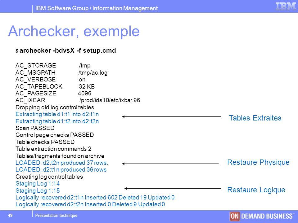 Archecker, exemple Tables Extraites Restaure Physique Restaure Logique