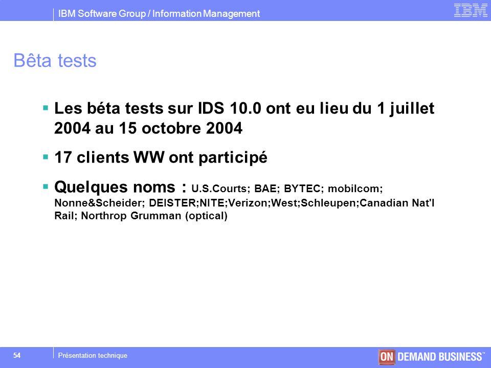 Bêta tests Les béta tests sur IDS 10.0 ont eu lieu du 1 juillet 2004 au 15 octobre 2004. 17 clients WW ont participé.