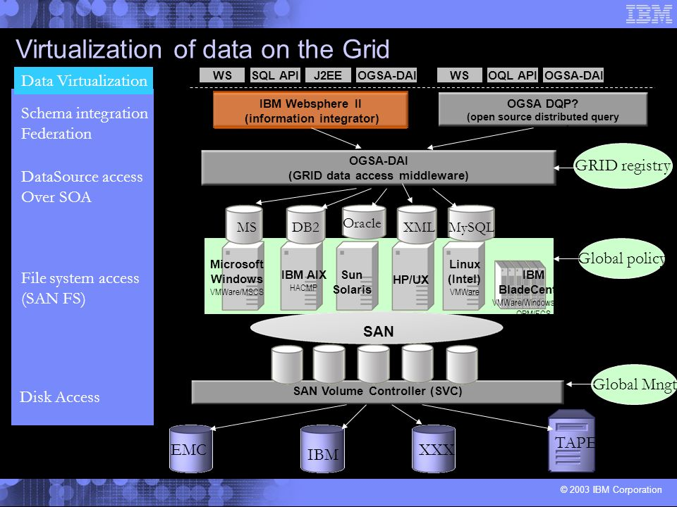 Virtualization of data on the Grid