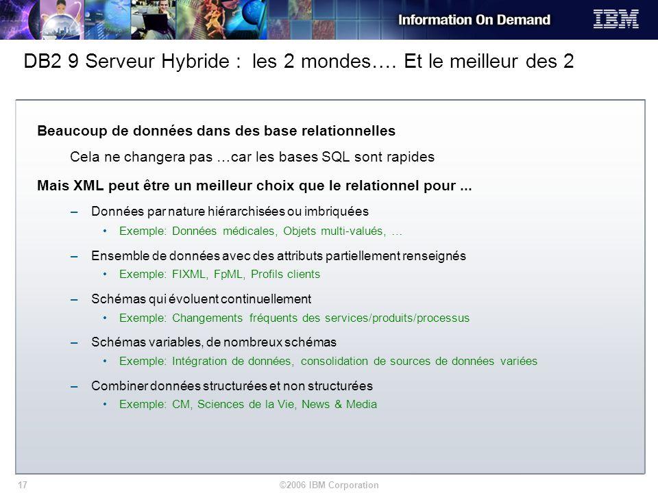 DB2 9 Serveur Hybride : les 2 mondes…. Et le meilleur des 2