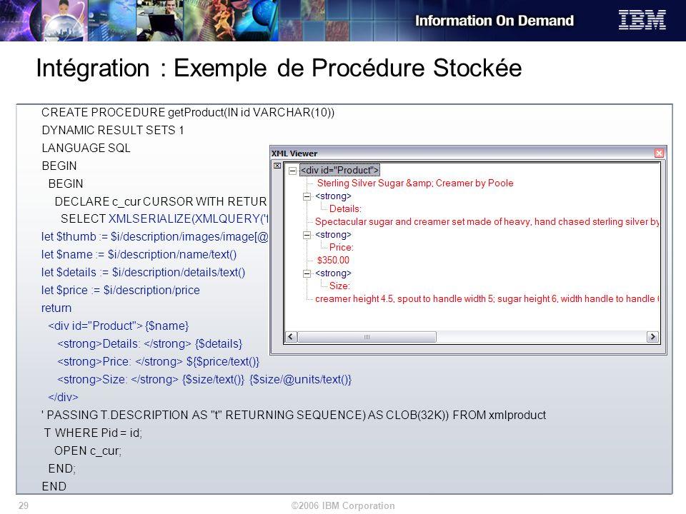 Intégration : Exemple de Procédure Stockée