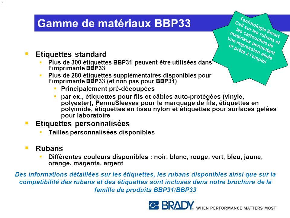 Gamme de matériaux BBP33 Etiquettes standard Etiquettes personnalisées