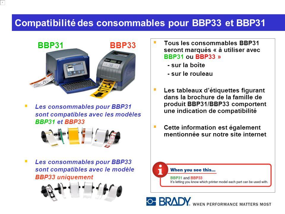 Compatibilité des consommables pour BBP33 et BBP31