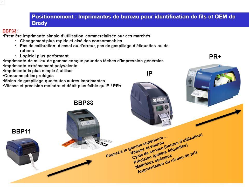 Positionnement : Imprimantes de bureau pour identification de fils et OEM de Brady
