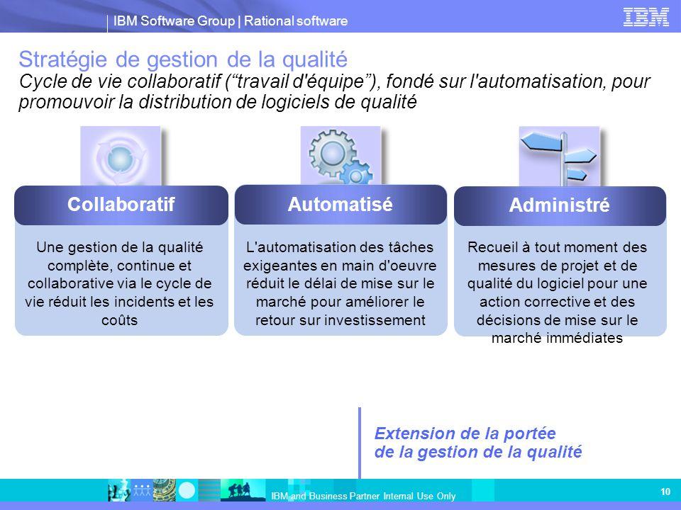 Stratégie de gestion de la qualité Cycle de vie collaboratif ( travail d équipe ), fondé sur l automatisation, pour promouvoir la distribution de logiciels de qualité