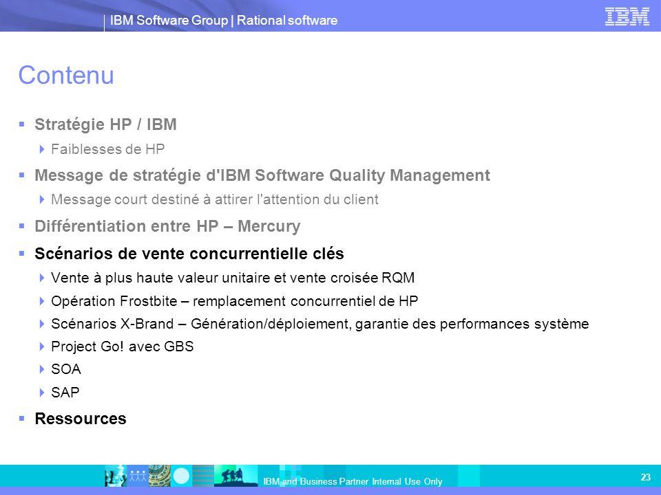 Contenu Stratégie HP / IBM