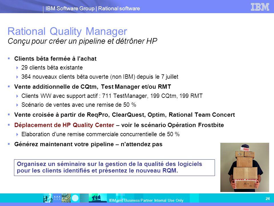 Rational Quality Manager Conçu pour créer un pipeline et détrôner HP