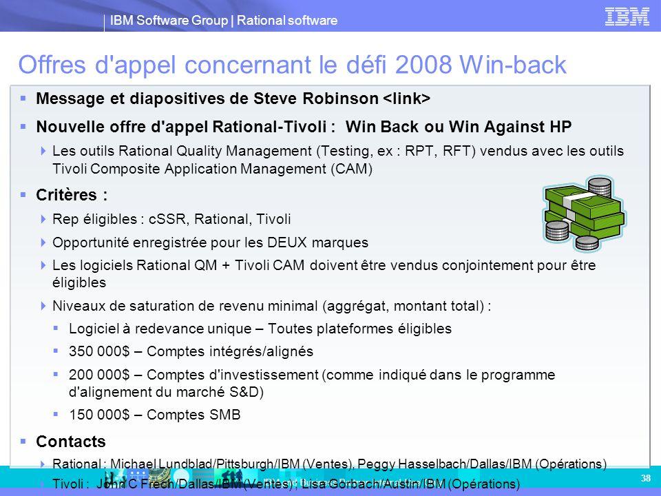 Offres d appel concernant le défi 2008 Win-back