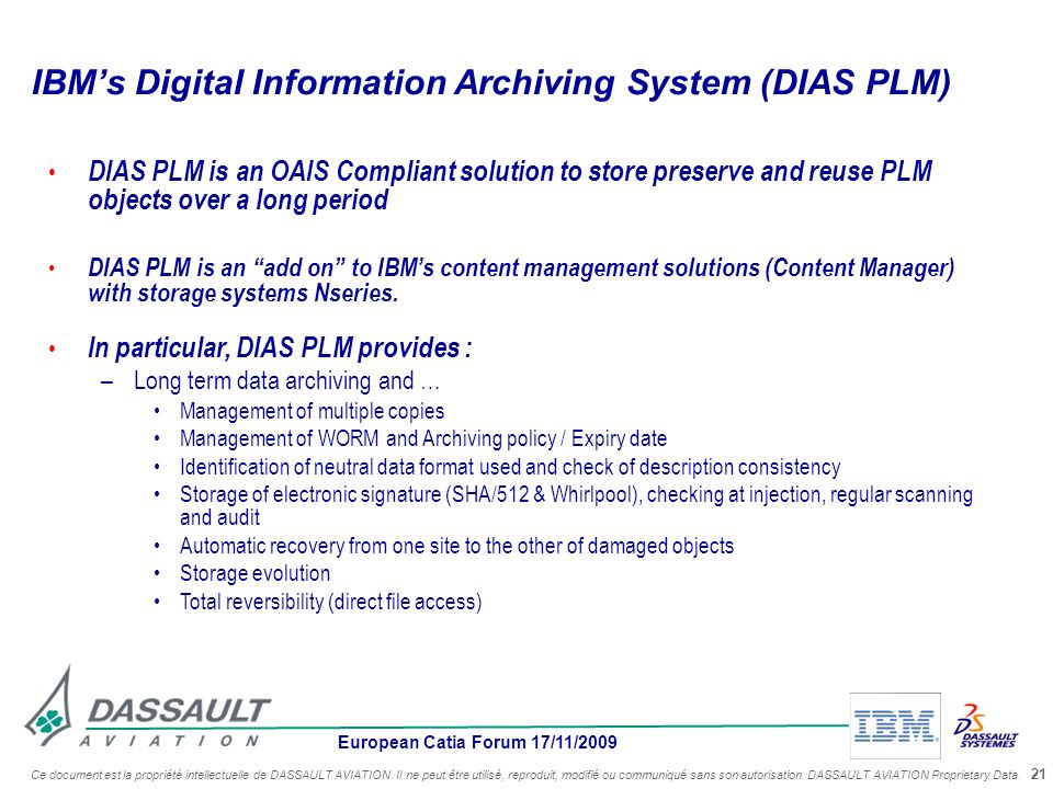 IBM's Digital Information Archiving System (DIAS PLM)