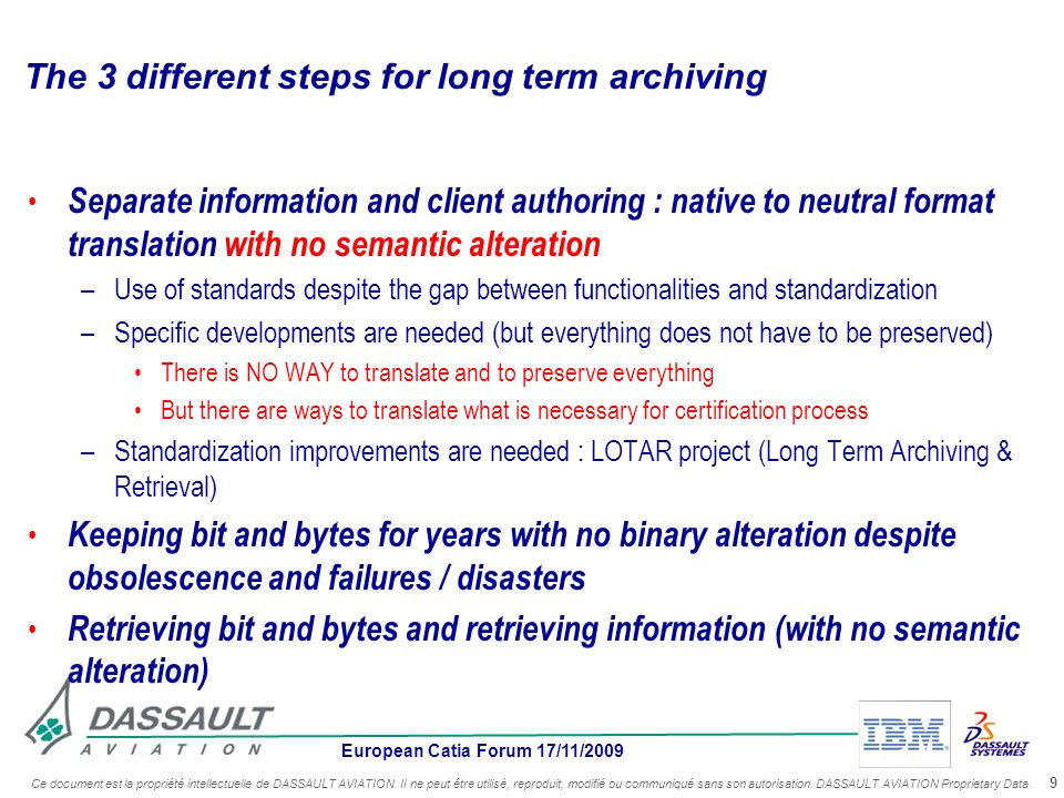 The 3 different steps for long term archiving