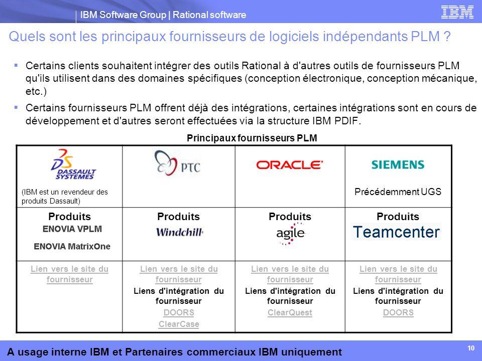 Quels sont les principaux fournisseurs de logiciels indépendants PLM
