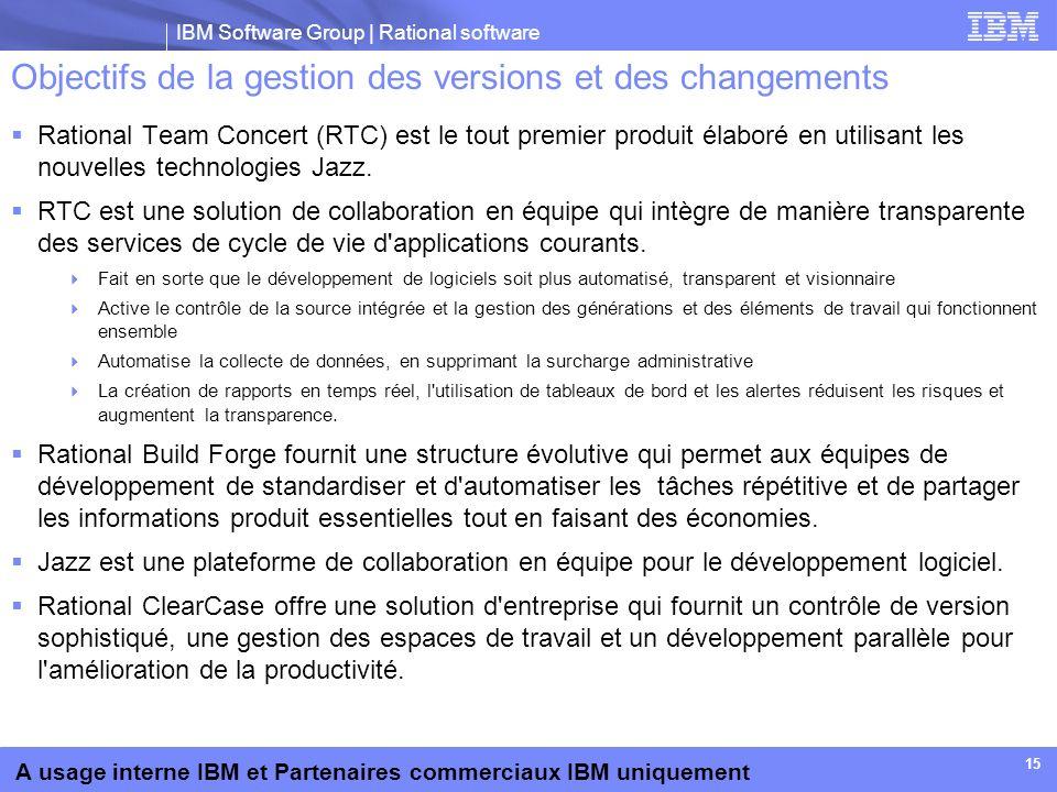 Objectifs de la gestion des versions et des changements