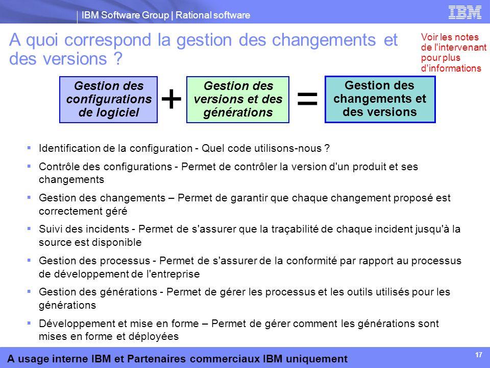 A quoi correspond la gestion des changements et des versions