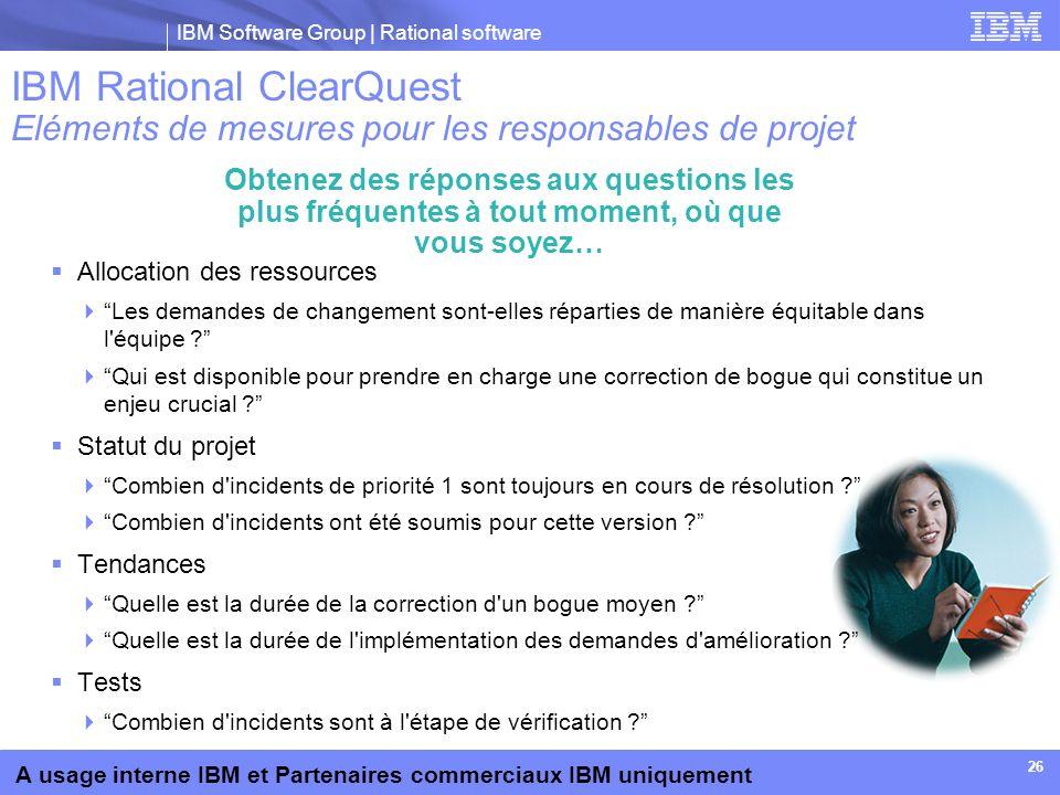 IBM Rational ClearQuest Eléments de mesures pour les responsables de projet