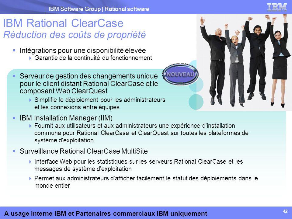 IBM Rational ClearCase Réduction des coûts de propriété