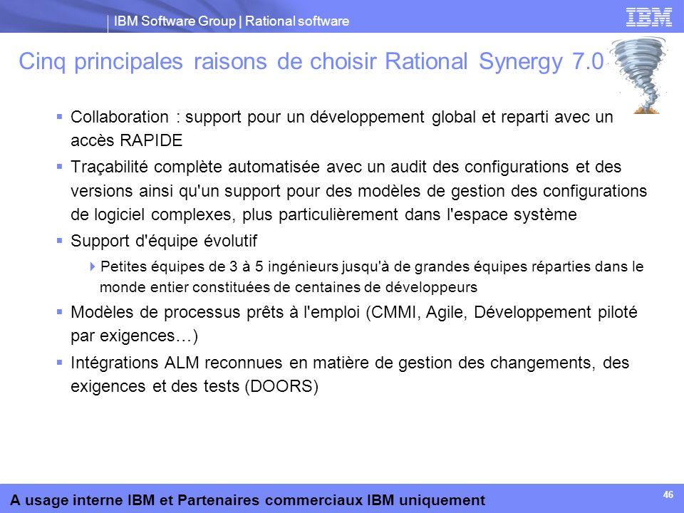 Cinq principales raisons de choisir Rational Synergy 7.0