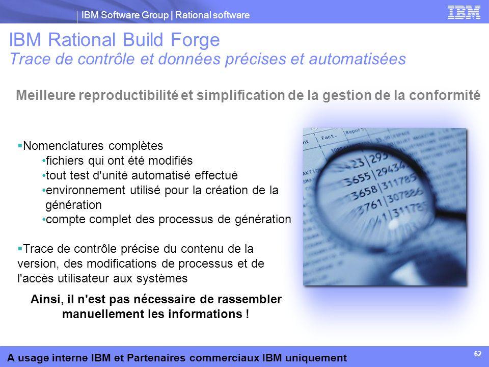 IBM Rational Build Forge Trace de contrôle et données précises et automatisées