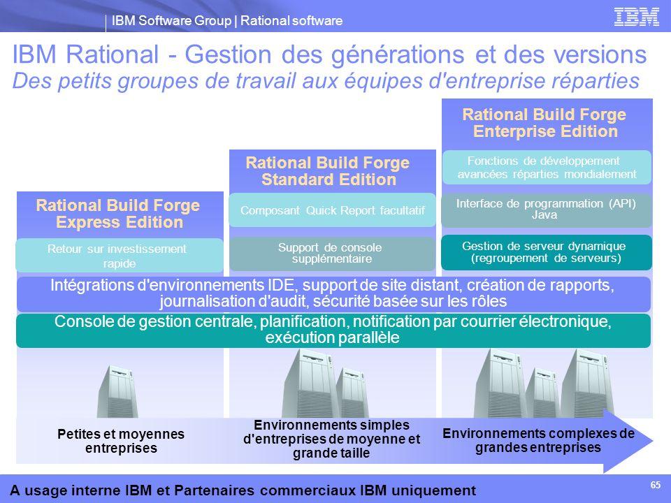 IBM Rational - Gestion des générations et des versions Des petits groupes de travail aux équipes d entreprise réparties
