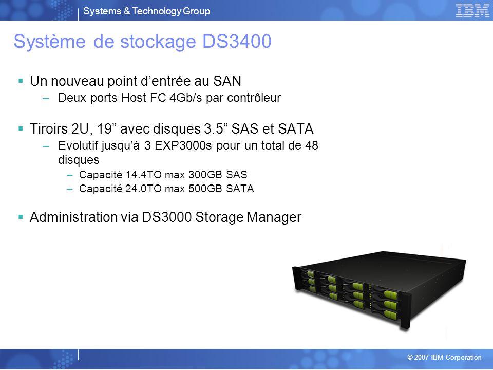 Système de stockage DS3400 Un nouveau point d'entrée au SAN