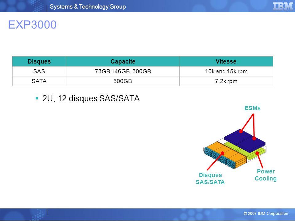 EXP3000 2U, 12 disques SAS/SATA Disques Capacité Vitesse SAS