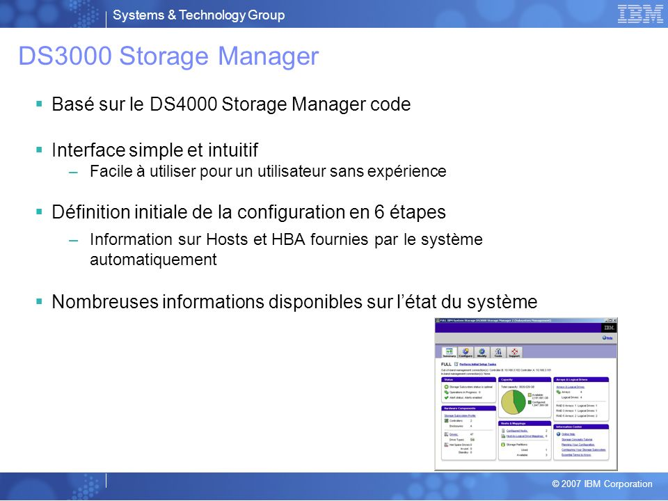 DS3000 Storage Manager Basé sur le DS4000 Storage Manager code