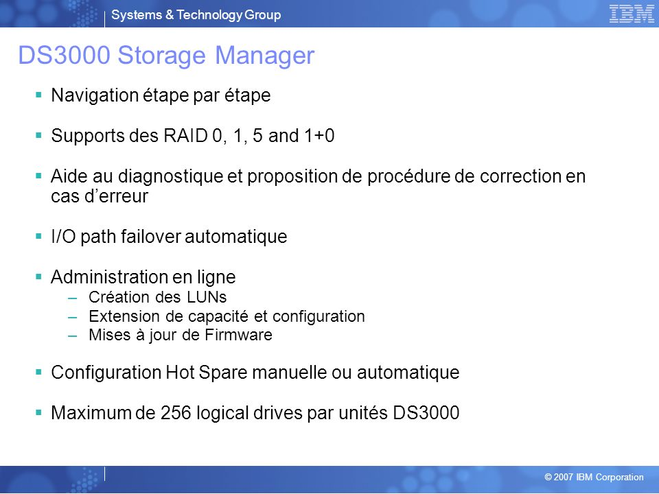 DS3000 Storage Manager Navigation étape par étape