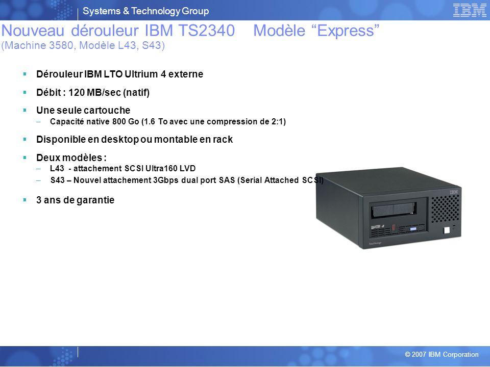 Nouveau dérouleur IBM TS2340 Modèle Express (Machine 3580, Modèle L43, S43)