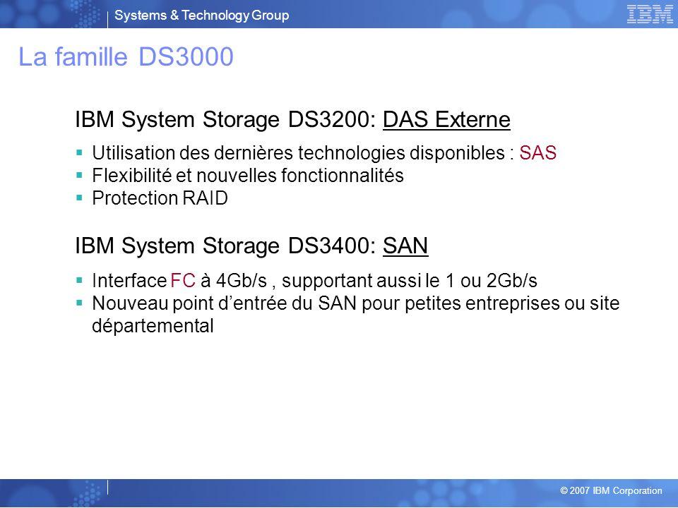 La famille DS3000 IBM System Storage DS3200: DAS Externe