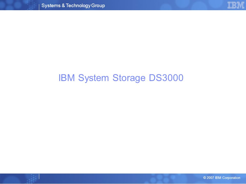 IBM System Storage DS3000