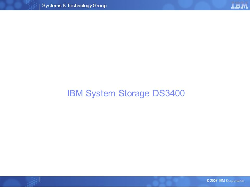 IBM System Storage DS3400
