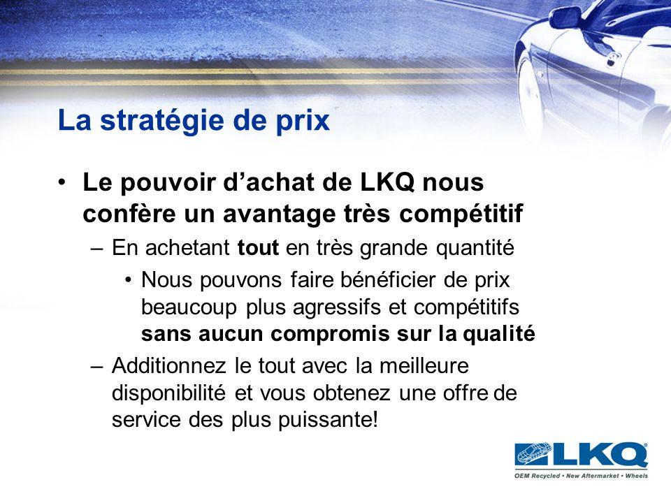 La stratégie de prix Le pouvoir d'achat de LKQ nous confère un avantage très compétitif. En achetant tout en très grande quantité.
