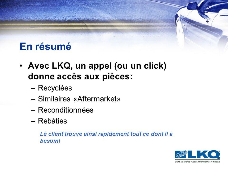 En résumé Avec LKQ, un appel (ou un click) donne accès aux pièces: