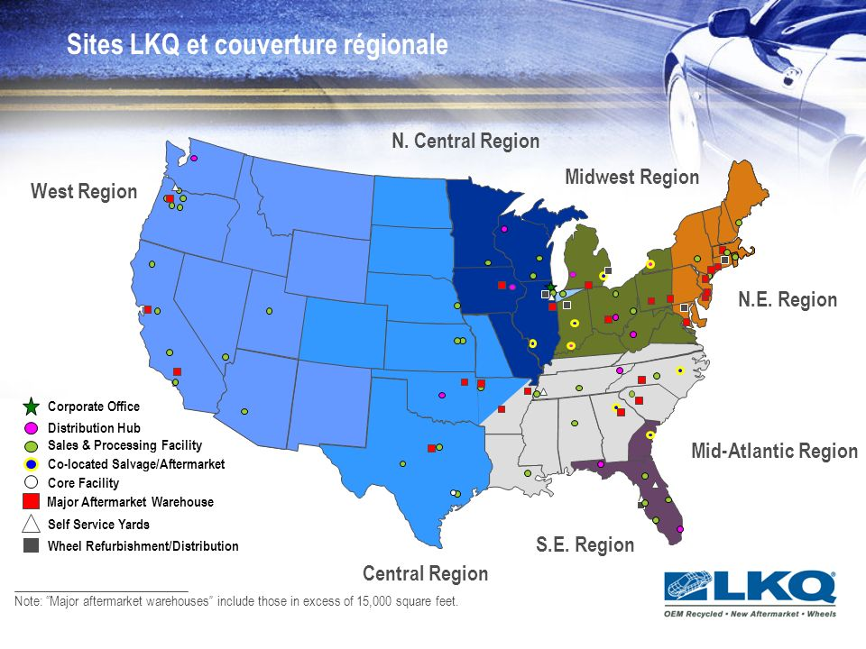 Sites LKQ et couverture régionale