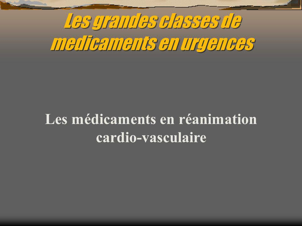 Les grandes classes de medicaments en urgences