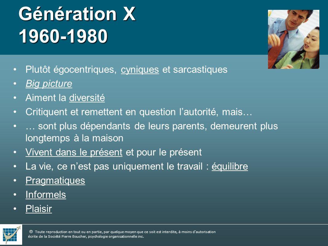 Génération X 1960-1980 Plutôt égocentriques, cyniques et sarcastiques