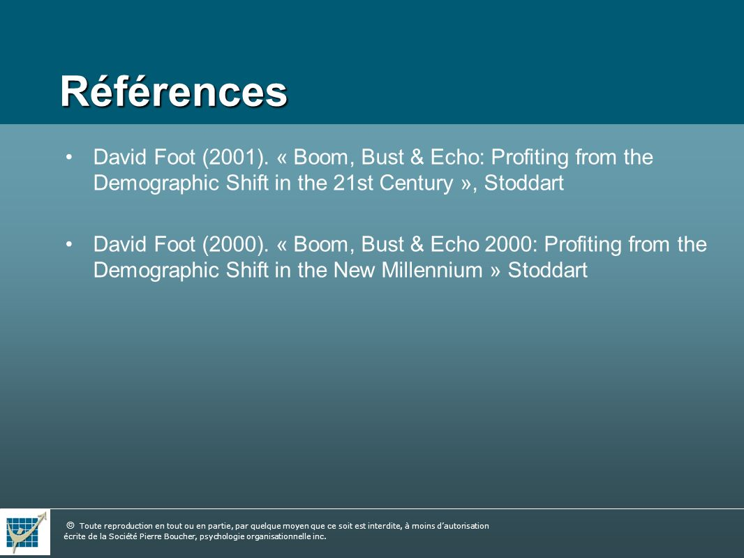 Références David Foot (2001). « Boom, Bust & Echo: Profiting from the Demographic Shift in the 21st Century », Stoddart.