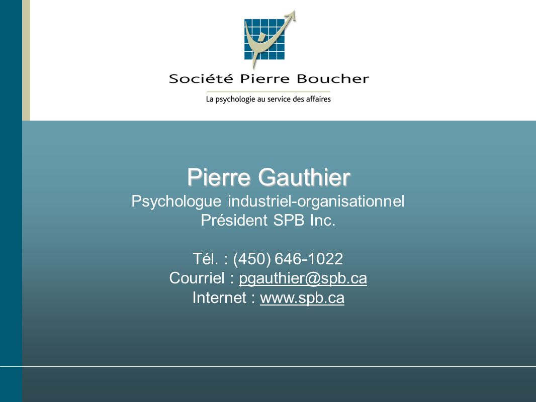 Pierre Gauthier Psychologue industriel-organisationnel