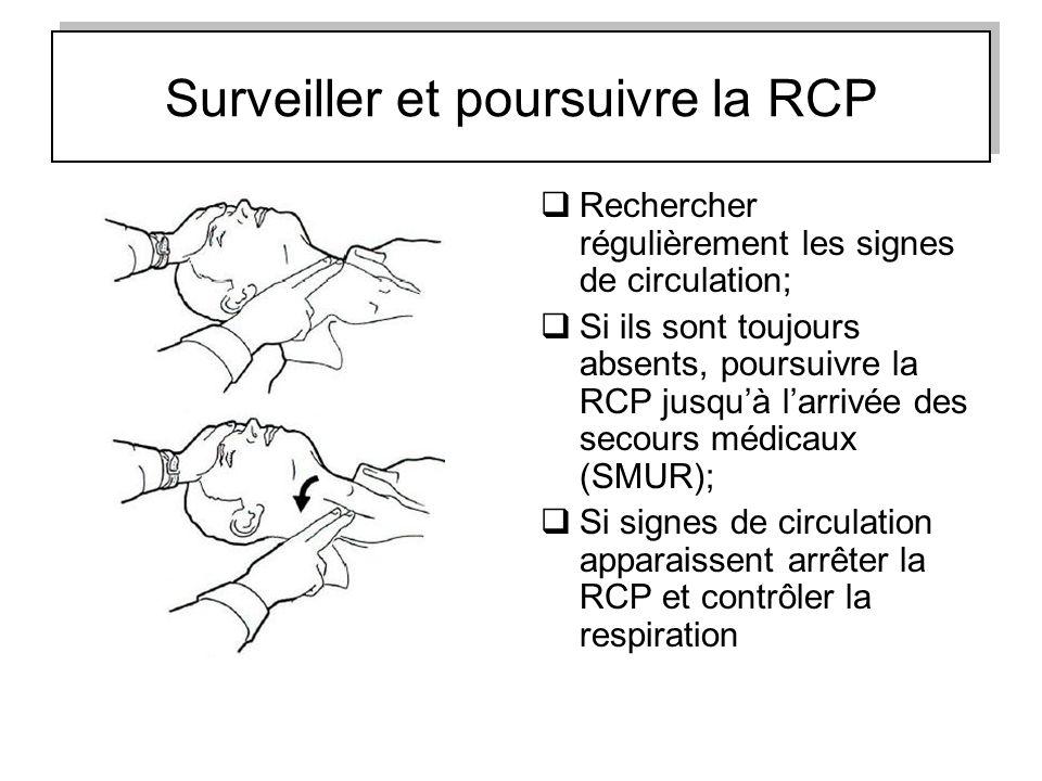 Surveiller et poursuivre la RCP