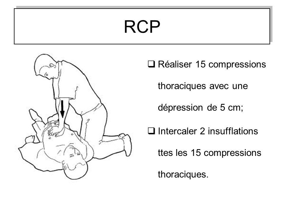 RCP Réaliser 15 compressions thoraciques avec une dépression de 5 cm;