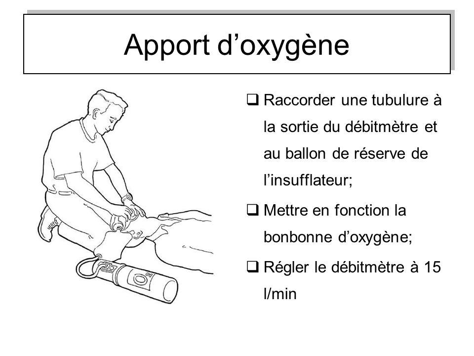 Apport d'oxygène Raccorder une tubulure à la sortie du débitmètre et au ballon de réserve de l'insufflateur;