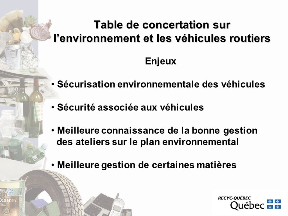 Table de concertation sur l'environnement et les véhicules routiers