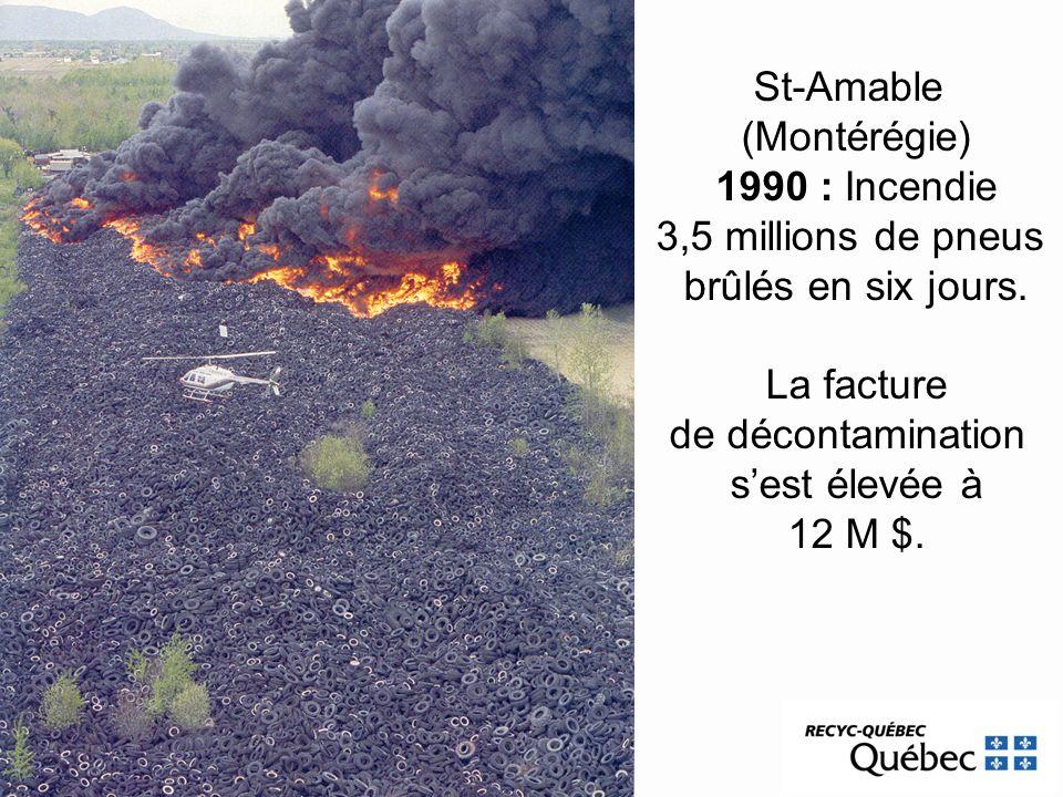 St-Amable(Montérégie) 1990 : Incendie. 3,5 millions de pneus. brûlés en six jours. La facture. de décontamination.