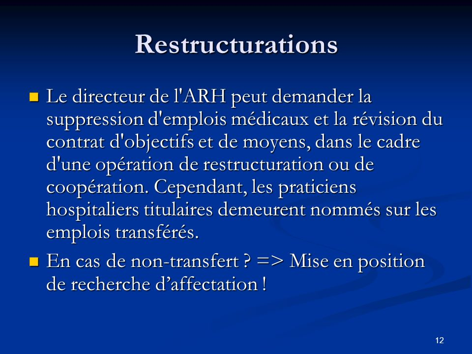 Restructurations