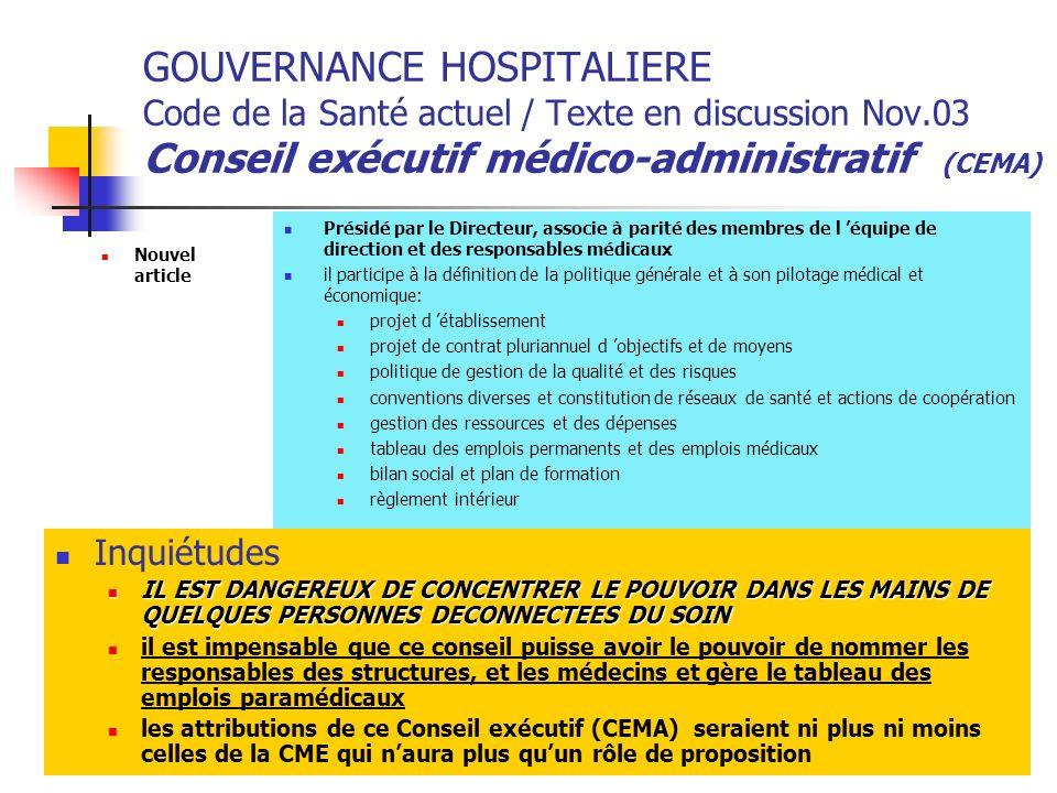 GOUVERNANCE HOSPITALIERE Code de la Santé actuel / Texte en discussion Nov.03 Conseil exécutif médico-administratif (CEMA)